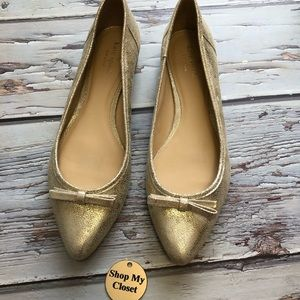 Kate Spade Gold Metallic Flats with bow detail